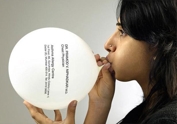 визитка в виде воздушного шарика