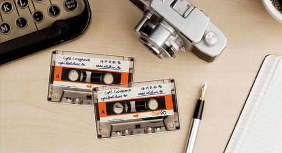 визитки в форме кассеты