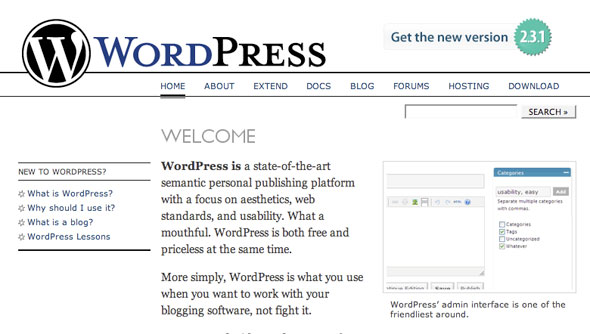 wordpress old design
